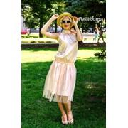 Женский костюм из атласа с фатином, в расцветках. Р-19-0718 фото