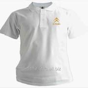 Рубашка поло Citroen белая вышивка золото фото