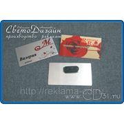 Бейдж металлический (8 х 4 см) на магните фото