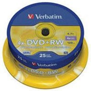 Диск DVD+RW Verbatim 4.7Gb 4x CakeBox 25 шт silver (43489) фото