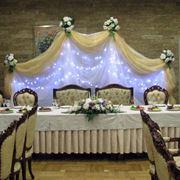 Декор банкетов цветами шарами тканями фото