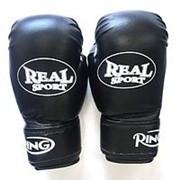 Перчатки боксерские Realsport 12 унций, черный фото