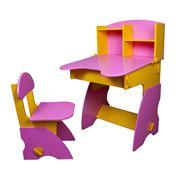 Столик и стульчик для девочек желто-розовый фото