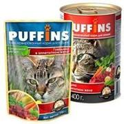 Puffins 400г конс. Влажный корм для взрослых кошек Говядина (желе) фото
