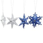 Декор Снежинка бумажн. серебр/синяя d=17см фото
