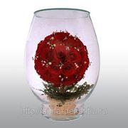 Артикул - VMR4 Композиция из натуральных роз. Размер: h-25.5 d-17.5 см фото