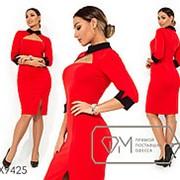 Платье женское из креп дайвинга с вырезом на груди (3 цвета) - Красный SD/-629 фото