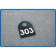 Номерок из цветного полистирола с аппликацией (45х60мм) фото