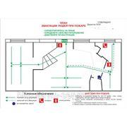 План эвакуации 40х60 см в багете металл фото