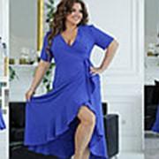 Изящное платье женское на запах (3 цвета) НА/-121 - Электрик фото