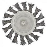 Сибртех Щетка для дрели, 100 мм, плоская со шпилькой, крученая металлическая проволока Сибртех фото