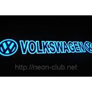 Неоновая авто эмблема Volkswagen | Фольксваген на заднее стекло, размером 38*8 см. фото