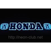 Неоновая авто эмблема Honda | Хонда на заднее стекло, размером 38*8 см. фото