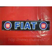 Неоновая авто эмблема Fiat | Фиат на заднее стекло, размером 38*8 см. фото
