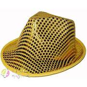 Шляпа Твист в поетках желтая фото