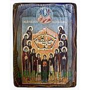 Мастерская состаренной иконы Оптинские старцы, святые преподобные, икона под старину Высота иконы 24 см фото