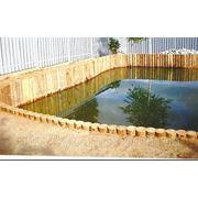 Укрепление водоймов камнем, габионами, шпунтом. фото