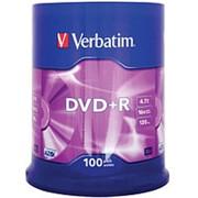 Оптический диск DVD плюс R 4.7 Гб Verbatim в тубе 100шт. фото