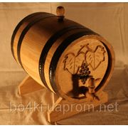 Бочка дубовая для вина 10л обод из черного метала фото