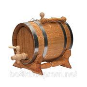 Бочка дубова для вина овальной формы 5л обод из нержавеющей стали фото