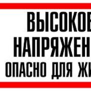 Плакат S-09 Высокое напряжение опасно для жизни 150х300 пластик фото