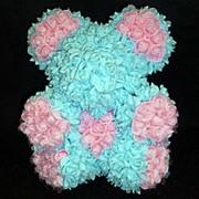 Мишка из роз голубых с розовыми 23x27см фото