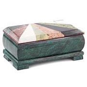 """Шкатулка для денег """"Купюра"""" с мозаикой змеевик 19х9,5х8 см фото"""