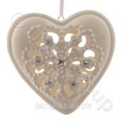 Декор Сердце из фарфора белое кружевное со стразами d10,5x3 фото