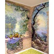 Художественная роспись стен в коридоре фото