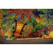 Художественная роспись потолков в ресторане фото