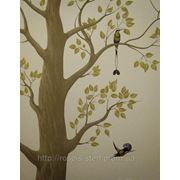 Художественная роспись дерево с райскими птицами фото