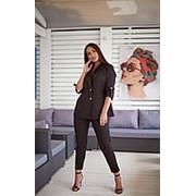 Стильный льняной костюм женский IS/-972 - Черный фото