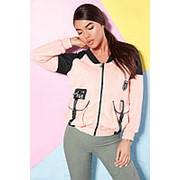 Куртка-бомбер женская двухцветная с большими накладными карманами (2 цвета)-Розовый LC/-310 фото