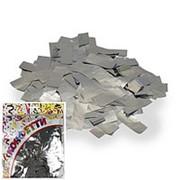 Конфетти фольгированное Прямоугольники серебро 2*5см 100гр фото