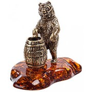 "Фигурка ""Медведь с бочкой меда"" 5 см. арт.AM-694 фото"