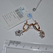 Серьги серебряные позолоченные с фианитами Арт С3Ф/101 фото