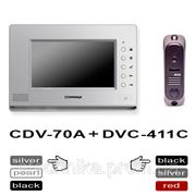 Commax CDV-70A silver + DVC-411C цветной домофон с панелью вызова фото