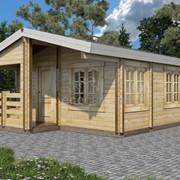Садовый домик (5.0x6.0x3.4 м), площадь 22.1 кв.м., брус 135х45/70/90 с верандой «Ливорно» фото