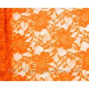 Стрейч-гипюр ярко-оранжевый фото