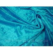 Cтрейч-бархат крэш бирюзово-голубой фото