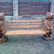"Скамейка деревянная ""медведи"" … Скамейка деревянная ""медведи"" (скульптурная резьба) фото"