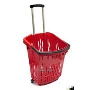 Корзина-тележка покупательская пластиковая фото