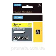 Картридж с нейлоновой лентой, 12ммx3.5м, черный шрифт/желтая лента фото