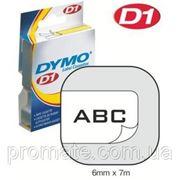 Лента системы D1, 6мм х 7м, пластиковая, черные буквы/белая лента фото