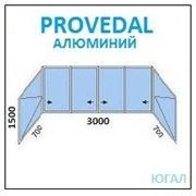 Алюминиевая балконная рама 3000х1500 (ШхВ)+700х1500 2шт (ШхВ) открываются фото