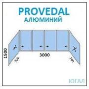 Алюминиевая балконная рама 3000х1500 (ШхВ)+700х1500 2шт (ШхВ) глухие фото