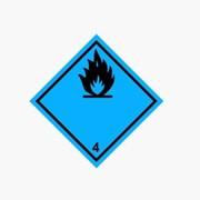 Знак Класс опасности 4, Подкласс 4.3.1, 4.3.2 Наклейка / табличка фото