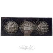 """Набор стеклянных шаров """"Грани красоты"""" белые, 80 мм, 3 шт (Kaemingk) фото"""
