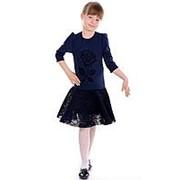 Нарядное детское платье синего цвета 104 фото