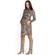 """Платье """"Росселла"""" бежевое с цветами для беременных и кормящих фото"""